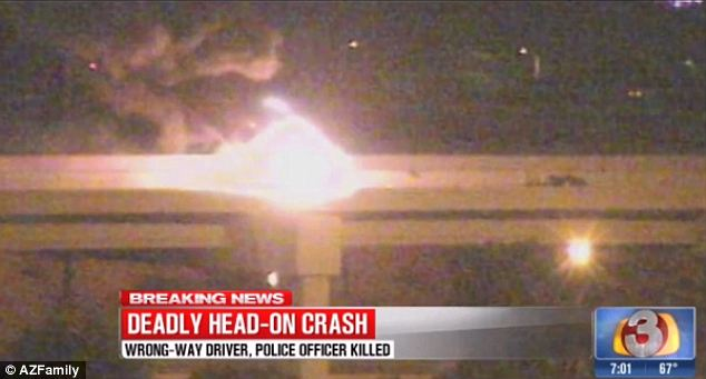 Fiery: The driver's 35-mile wrong-way rampage across three freeways ended in this fiery explosion around 1am