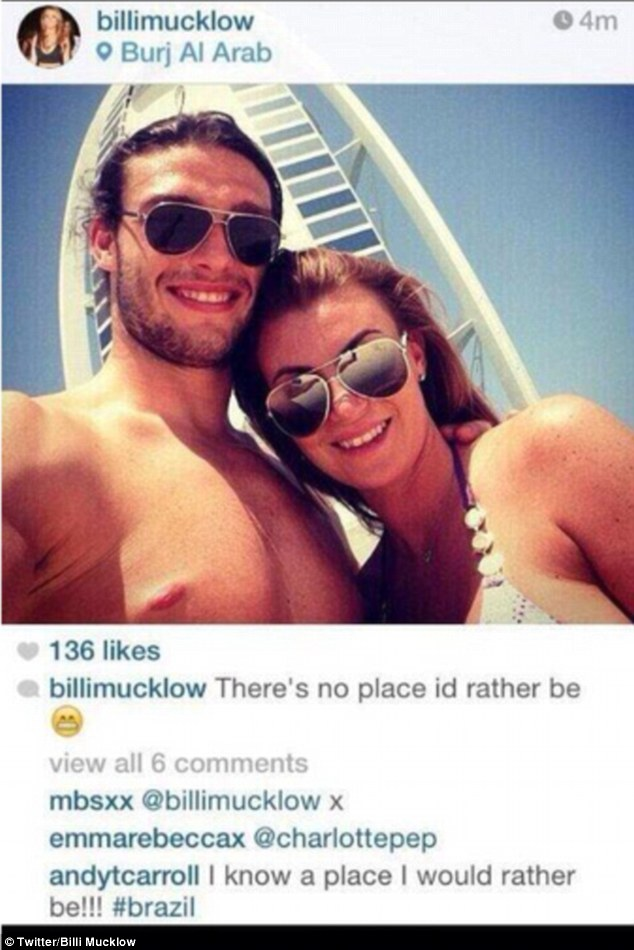Andy Carroll posts cheeky Brazil message on girlfriend's Instagram post