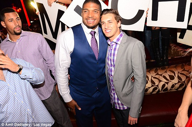 Landmark moment: Sam and his boyfriend Cammisano partied Saturday night away in Las Vegas after the draft