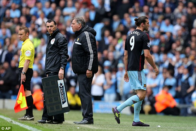 Off you go: Carroll played his last football match of the season for West Ham on Sunday but was subbed off on the 72nd minute
