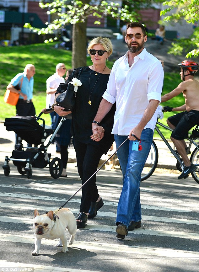 New York state of mind: Meanwhile, celebrities like Hugh Jackman and Debeorra-Lee Furness (pictured) were enjoying the heat in Central Park on Sunday
