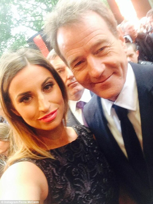Big fan: The pair seemed a little starstruck during their night out after meeting Breaking Bad star Brian Cranston