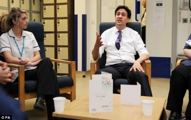 Ed Miliband visited Leighton Hospital in Crewe today before announcing that under Labour voters would get a guarantee to see their GP within 48 hours