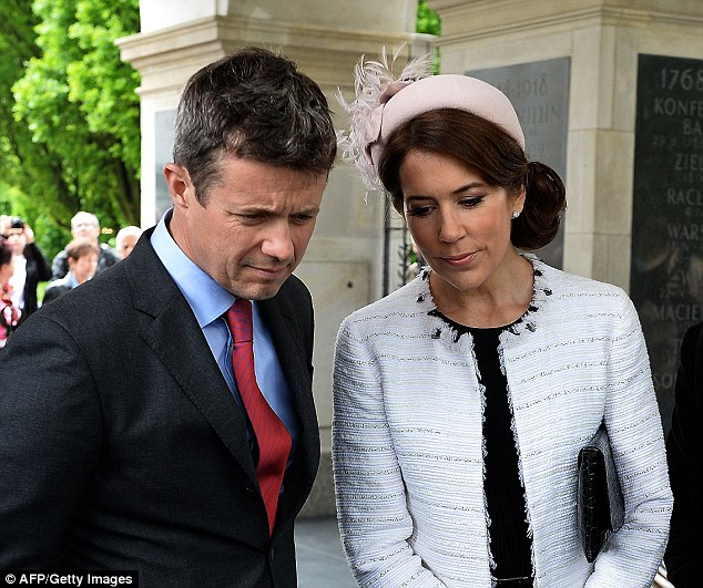Crown Prince of Denmark Frederik (left) and Crown Princess Mary attend the wreath laying ceremony at the Tomb of the Unknown Soldier