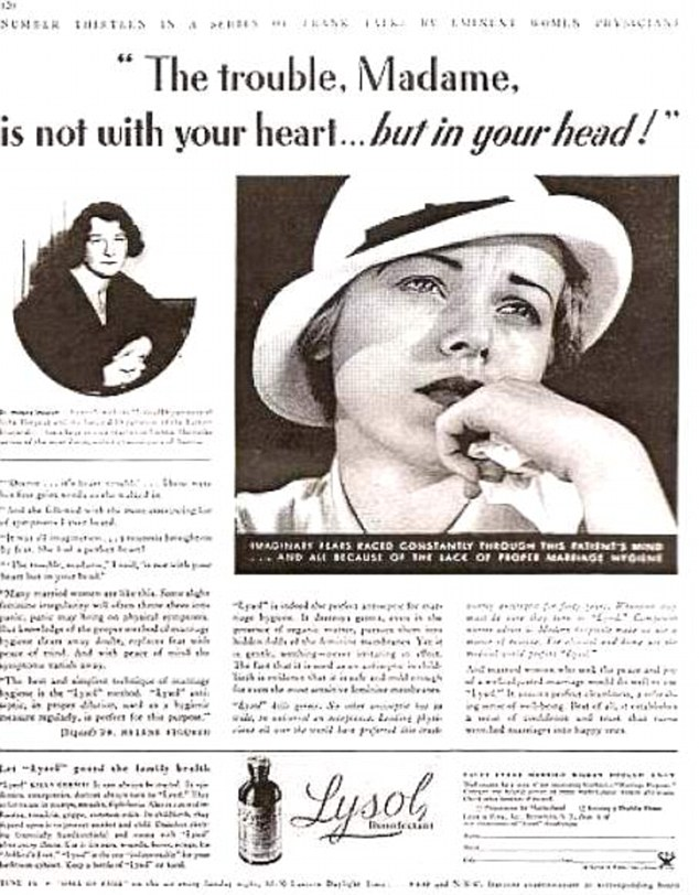 How times have changed: It may sound unbelievable now, but there was a time when douching with Lysol was the most popular form of contraceptive, aggressively marketed as 'safe' and 'mild'