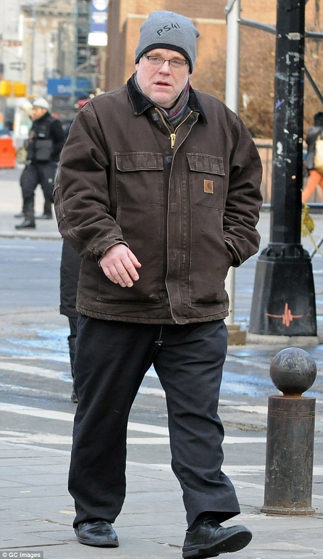 Before the fall: Revered actor Philip Seymour Hoffman's lifeless body was found in his Manhattan apartment on February 2 with envelopes branded 'Ace of Spades' brand heroin