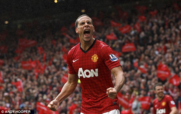 Passion: Ferdinand celebrates scoring the winning goal in Sir Alex Ferguson's last home game as United boss
