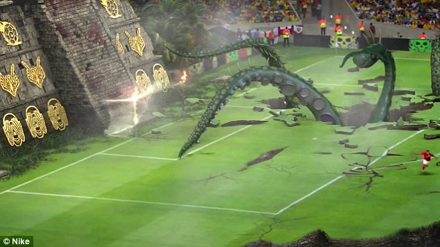 Bullet: The Arsenal flyer's fireball then smashes the goal and the stone wall behind it to smithereens