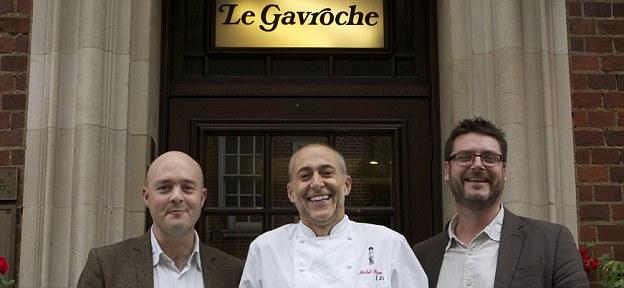 Entrepreneurs: Michel Roux Jr, who runs Michelin-starred restaurant Le Gavroche, with founders Richard Ballard and Steven Dring