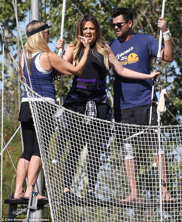 Are you ready? Khloe Kardashian looked overwhelmed while trapeze professionals instructed the reality star in Calabasas on Monday