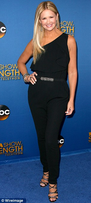 Television personality: Nancy O'Dell who serves as an ambassador for the Muscular Dystrophy Association showed her even tan in a sleeveless pantsuit