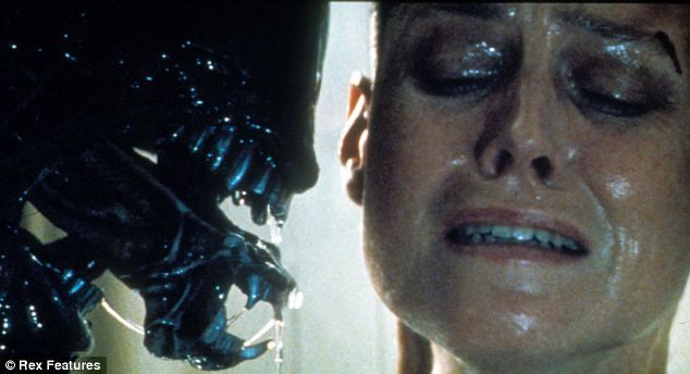 Giger inspired the alien in Ridley Scott's Alien, and won an Oscar for it. Here the beast faces up to Sigourney Weaver