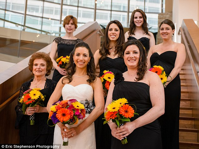 Obvious choice: Jenny Illes Wood from Ann Arbor, Michigan, said asking her 88-year-old grandmother Lila LeBlang to be one of her bridesmaids was a 'no-brainer'. 'She is truly one of my best friends,' she explained