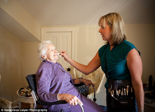Star treatment: Ms Arthur-Gunter has her make-up done before the big day