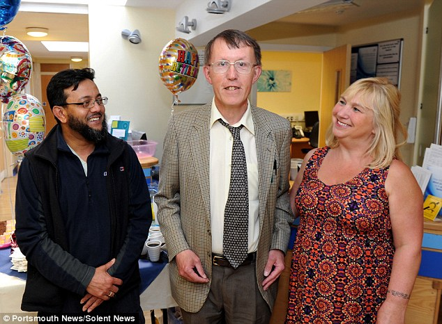 The practice manager said: 'Richard was like your old-fashioned doctor, who went out of his way to do home visits and to get to know everybody personally.' Pictured (left to right) Patient Atik Miah, Dr Richard Hughes and patient Sue Louth