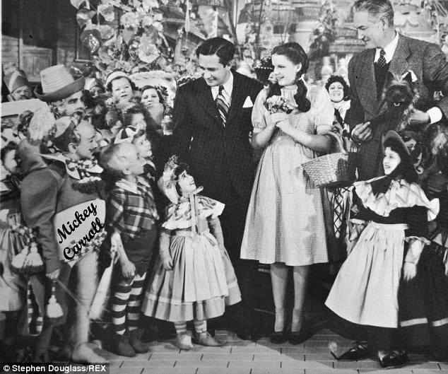 Mickey Carroll in the 'Wizard of Oz' (captioned on the pictured) Carroll was 18 when he appeared in the 1939 movie