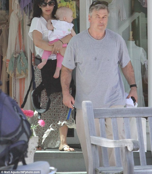 Privacy: Alec has previously insisted he wants to leave New York to get some privacy for his wife Hilaria and daughter Carmen (pictured together in the Hamptons on Mother's Day)