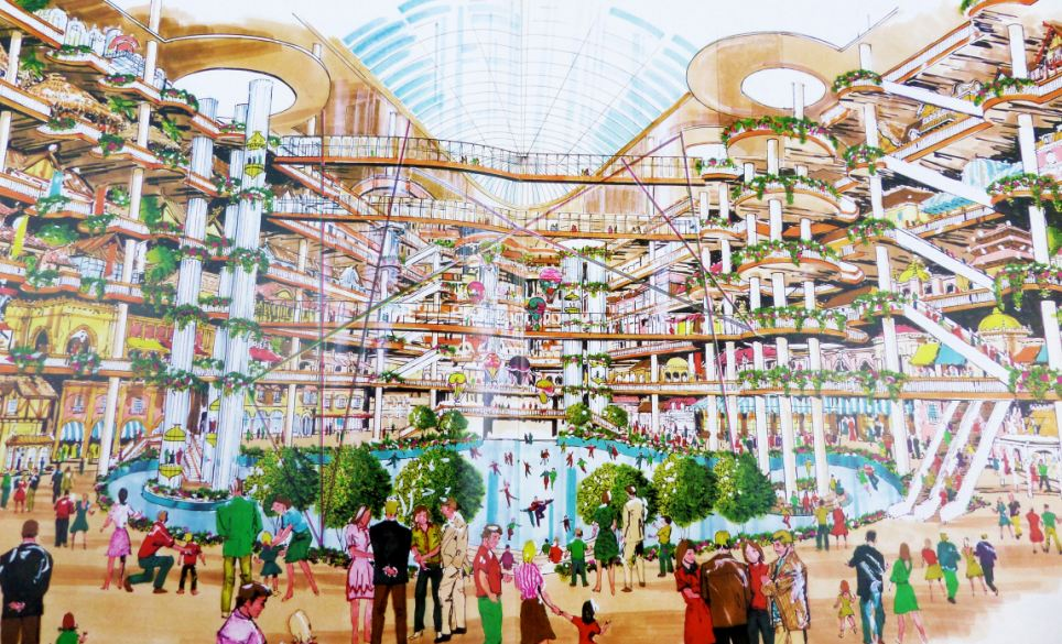 Lost Vegas: These sketches show what the inside of Battersea Power Station would have looked like if plans to turn it into an indoor theme park had gone ahead. It would have included a huge ice rink, hot air balloon rides around the atrium and six floors of shopping, cinemas and cultural experiences, each themed around a continent