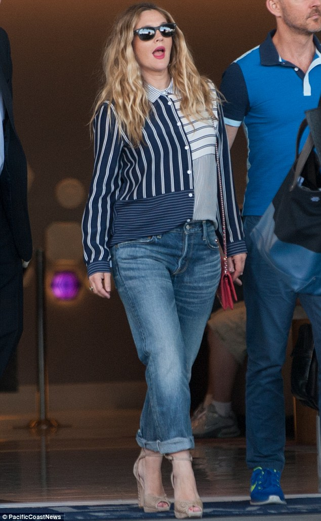 Looking good: Drew Barrymore showed off a slender frame as she stepped out in LA on Monday to promote her new film Blended