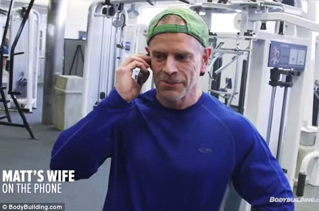 Support system: Mr Manning cites his wife Candice as instrumental in helping him stay on track, giving her a call immediately after the Bodybuilding crew surprised him with his prize at the gym