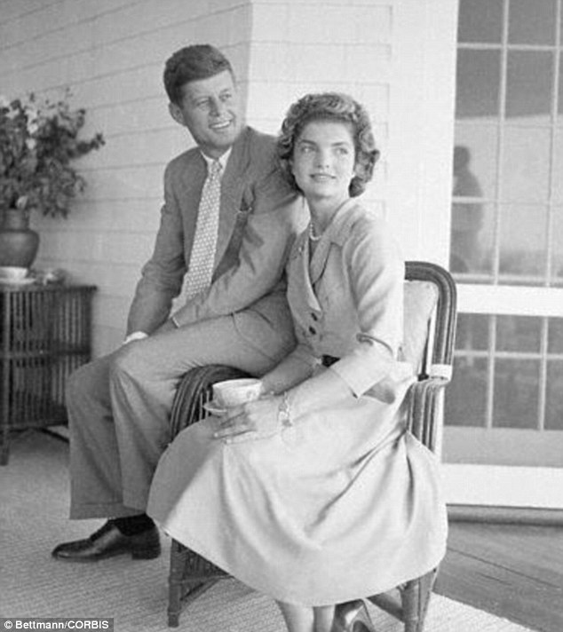 Young love: JFK and Jackie pictured in the early days of their courtship. At this point, Jackie was already writing to Leonard, likening her future husband's womanizing ways to those of her father