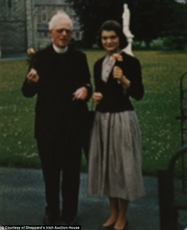 Private letters: Jackie Kennedy pictured with Father Joseph Leonard in Dublin, Ireland, in 1950. They would only meet once more before he died in 1964, but their 14-year correspondence would shed fresh light on Jackie's most private thoughts