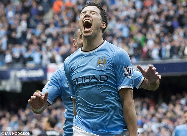 Star man: Nasri scored in the 2-0 win in what was an emotional afternoon at the Etihad Stadium