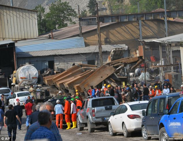 Rescue workers were at the entrance of the mine all Tuesday afternoon following the explosion which occurred during a change in shift patterns for the miners