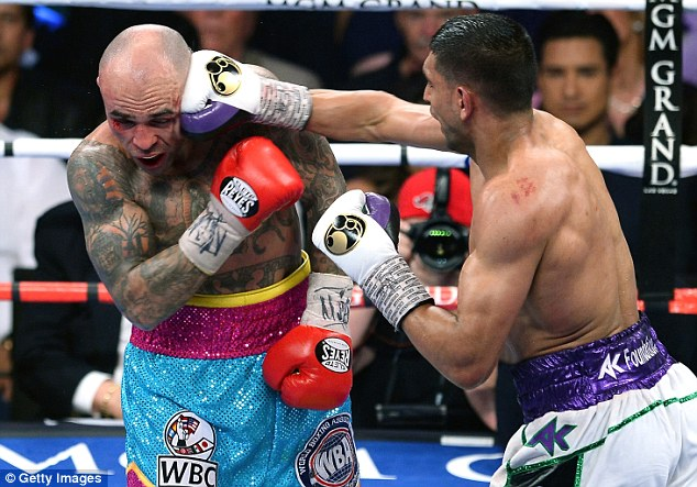 Target: Amir Khan beat Luis Collazo in Las Vegas and is now keen for a match-up with Mayweather