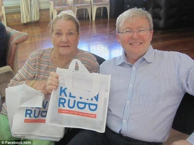 Vilma Ward, 85, volunteered for Kevin Rudd's campaign the first time he ran for the seat of Griffith