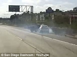 Dramatic dash cam footage shows the terrifying moment a woman's Toyota pickup violently veers into another woman's car on a California freeway last weekend.  Police are now investigating whether Stephanie Pontarolo, 33, was after rogue highway justice when her truck smashed into 21-year-old dental assistant Kelsey Shakespeare's car on Saturday.  If it does turn out to be a case of road rage, Pontarolo is likely now kicking herself with the one foot she didn't injure after her truck--not Shakespeare's Volkswagen--flipped completely over in the collision.