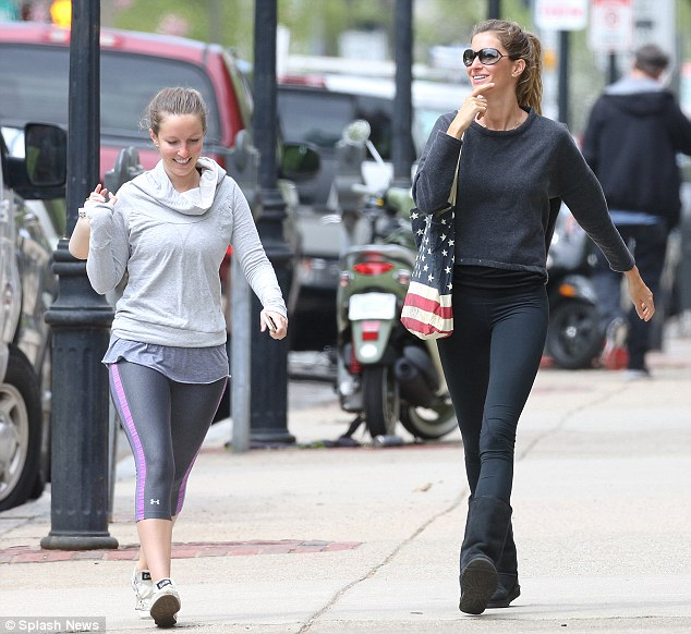 Yoga session?: The pair appeared to have just finished a workout as they were both attired in gym clothes