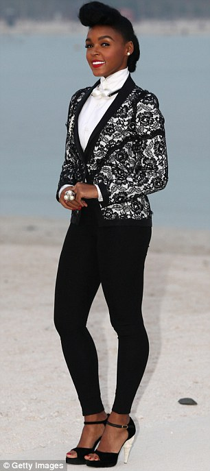 Ready-to-wear: Freida was joined at the event by singer Janelle Monae who looked smart in a monochrome suit