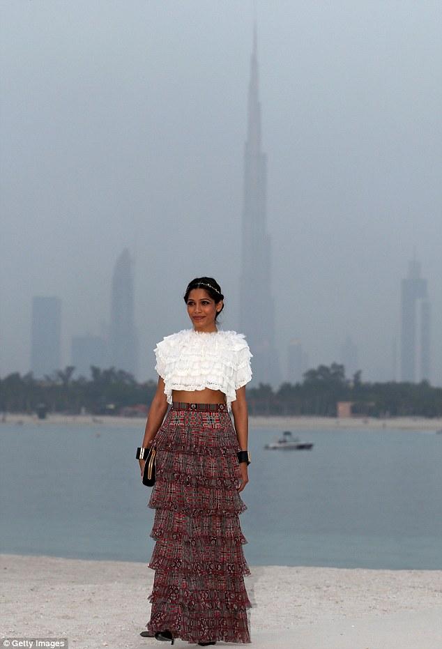 Gloom generation: Freida posed on a rather misty day in Dubai