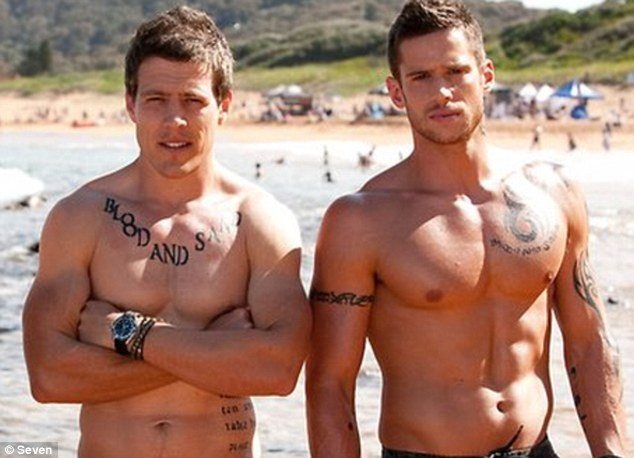 Onscreen physique: Dan played buff River Boy Heath Braxton on Home and Away for three years before relocating to LA - he is pictured here with co-star Steve Peacocke