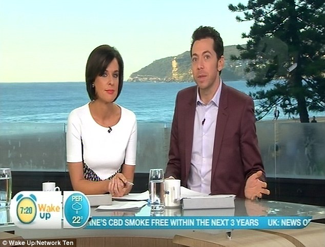 Wake Up host James Mathison (right) apologised after Network Ten set up a segment with a pensioner and Prime Minister Tony Abbott without disclosing her links to the Labor Party