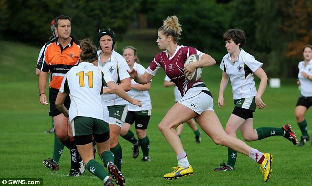 After turning out for the first team at Loughborough University Ashley, pictured here playing rugby, was tipped to become one of the greats of the game