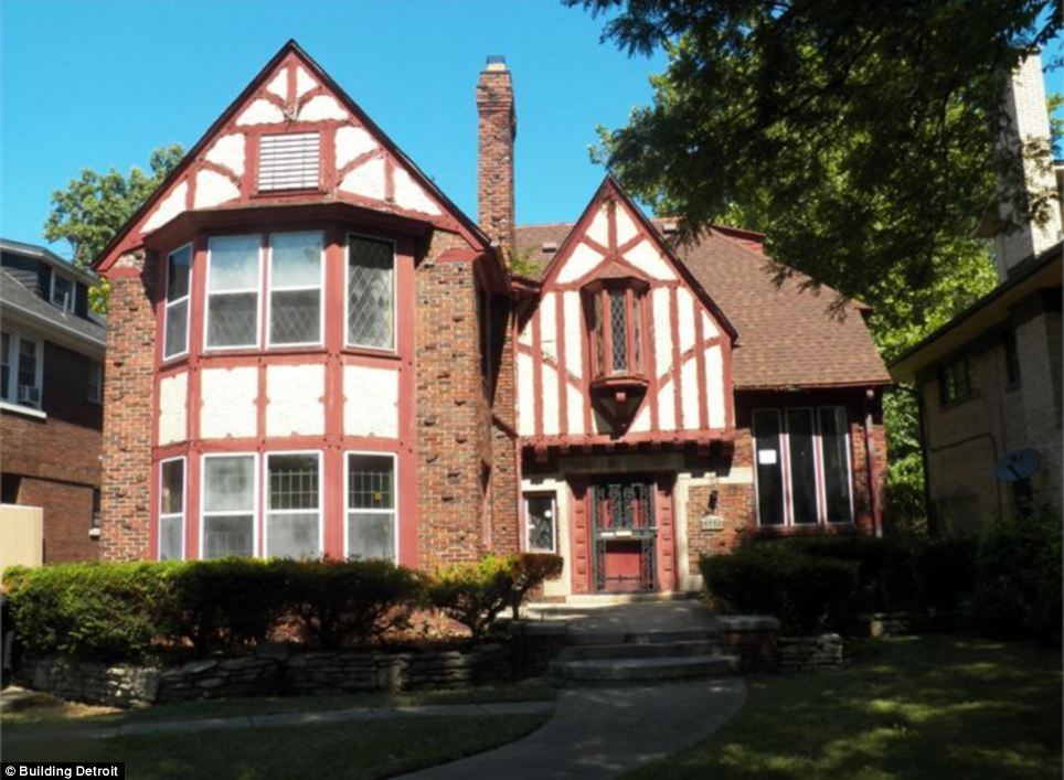 This seven bedroom Tudor-style property in Detroit is listed at just $1,000 as the city expands its online auction of homes in its efforts to combat blight