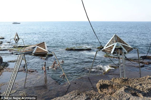 Friendlier than aliens: The conceptual structures might look like aliens are designed as a way of 'reclaiming' Beirut's shoreline for locals who could use them to harvest electricity and as 'look outs'