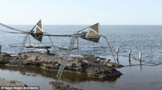An eye on the water: It is envisaged that the three-legged moving structures would become a chain of elevated lookouts for fishermen or anyone who wants to look out to sea (illustrated)