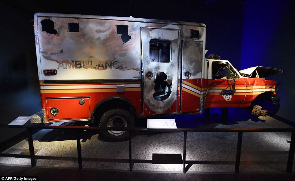 Difficult exit: A New York Fire Department ambulance that never made it out of the melee is part of the museum collection