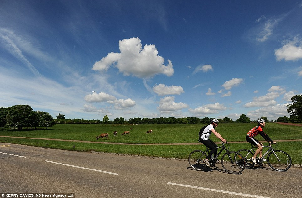 Taking a ride: Speaking of the dramatic improvement in weather this weekend, Laura Young from the Met Office told MailOnline: 'Most areas are going to be fine and dry. The South East and East Anglia could see temperatures around 23 to 24 degrees, with the rest of the country in the late teens early 20s'