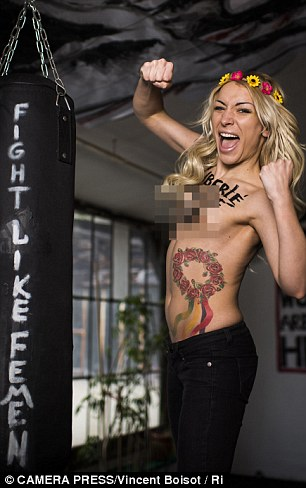 Fighting for her rights: FEMEN's Inna Shevchenko pictured inside the organisation's Paris HQ