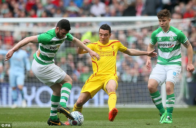 Drought: Liverpool's Iago Aspas (centre) scored the first goal of the game