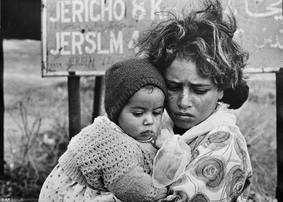 In this 1968 photo Palestinian refugees have just arrived in east Jordan in a continuing exodus of Palestinians from the West Bank and Gaza Strip