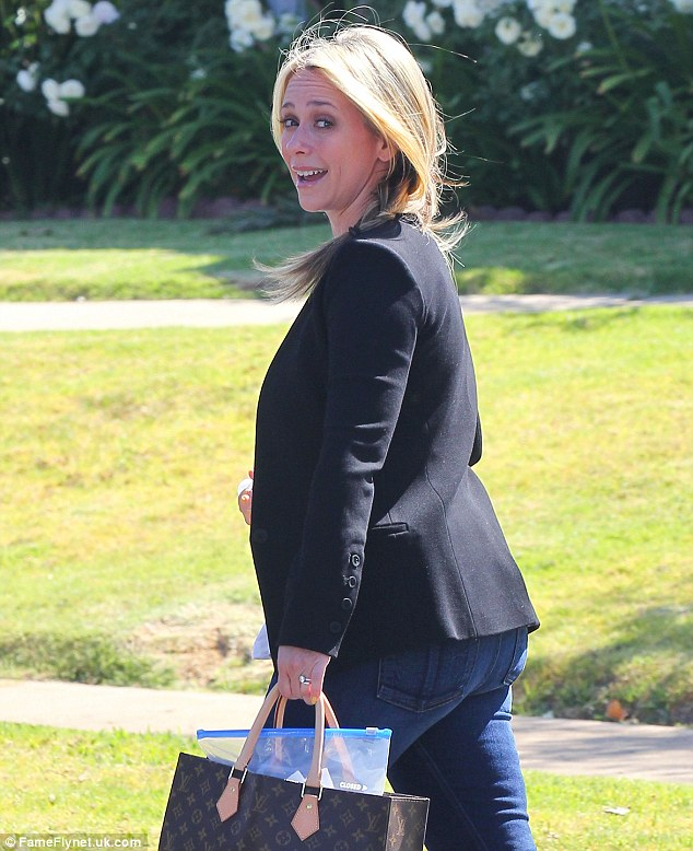 Working mom: The actress headed out to what looked like a business meeting