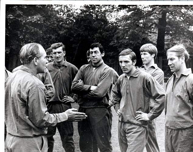 Legends: Sir Alf Ramsey talks to (left to right) Alex Stepney, Gordon Banks, Peter Thompson, Colin Bell and Sir Bobby Charlton