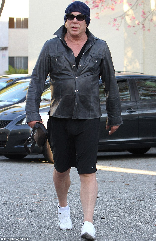 Transformation: Mickey pictured in LA in 2011 before he began his dramatic weight loss by training for a movie role