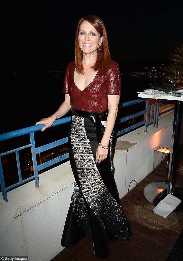 Enjoying the view: The actress seemed in high spirits as she enjoyed her prestigious party
