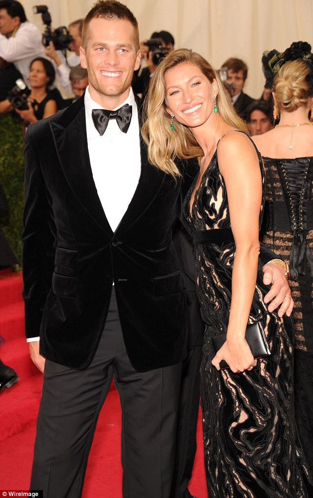 Stunning couple: Arm-in-arm at the Met Gala in NYC with husband Tom Brady on May 5